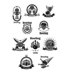 Bowling game championship awards icons set vector