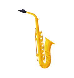 brass saxophone classical musical instrument flat vector image