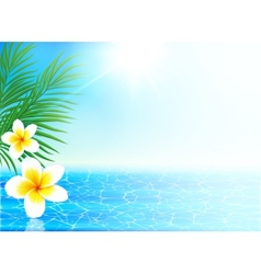 Calm sea and tropical flowers summer background vector