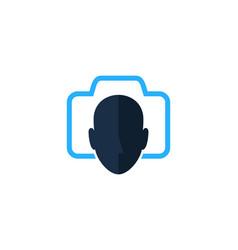 camera human head logo icon design vector image