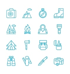 Camping Hiking Nature Outdoor Activities icons vector