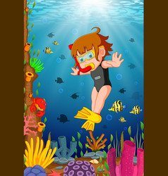 Cartoon girl diving in the sea vector