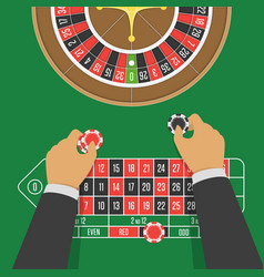 casino roulette table and whell vector image
