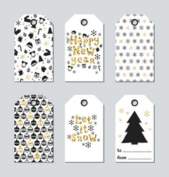 Christmas and new year gift tags cards xmas gold vector