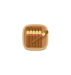 Cigars box with havana cigarets icon vector image