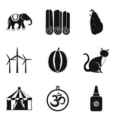 Circus animal icons set simple style vector