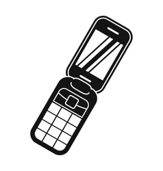 Clamshell handphone black simple icon vector image vector image