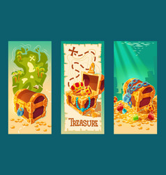 collection of wooden chests with treasures on the vector image
