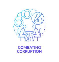 Combating corruption blue gradient concept icon vector