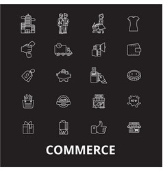 commerce editable line icons set on black vector image