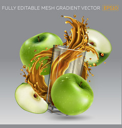 Composition green apples and juice splash vector