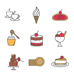 Confectionery color icons set vector