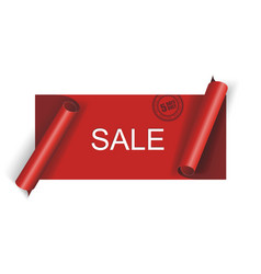 cut red sale banner vector image