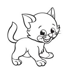 Cute cartoon kitten cat coloring book image vector
