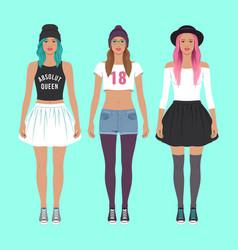 Cute hipster girls vector