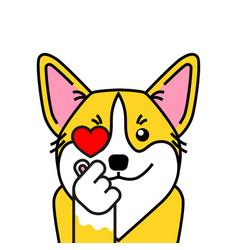 Cute welsh corgi dog loves k pop vector