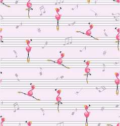 Dance pink flamingos music and music notes vector