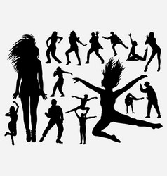 Dancing performance man and woman silhouette vector