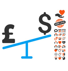 Dollar pound swing icon with dating bonus vector