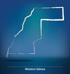 Doodle Map of Western Sahara vector