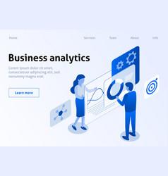Effective business analytics isometric banner vector