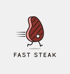 Fast steak logo running steak on white background vector