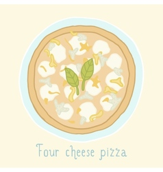 Four cheese pizza vector image