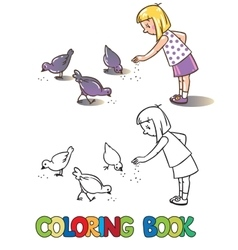 Girl feeding pigeons coloring book vector