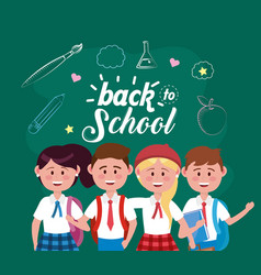 Girls and boys students with backpack and pencil vector