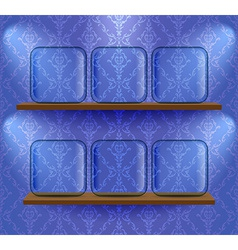 Glass placeholders on the shelves vector