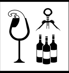 glasse bottles of wine and take out cork vector image vector image