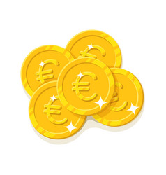 Gold euro coins cartoon style isolated vector