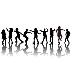 group children silhouettes dancing vector image