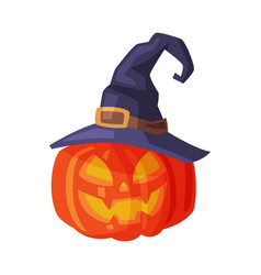 halloween scary pumpkin in black witch hat spooky vector image