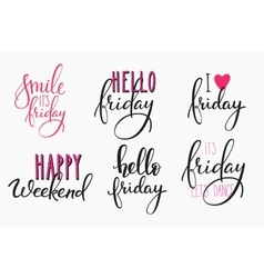 Hello Friday lettering postcard set vector