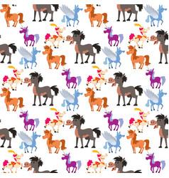 Horse pony stallion breeds color farm vector
