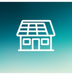 House with solar panel thin line icon vector image