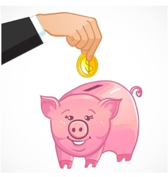 Human hand puts a coin in cute piggy bank eps10 vector