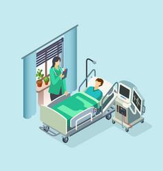 isometric hospital room patient doctor vector image