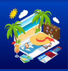 Isometric summer vacation concept online ticket vector