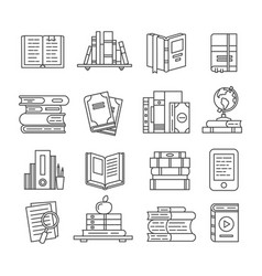 Line art book icons literary magazines study vector