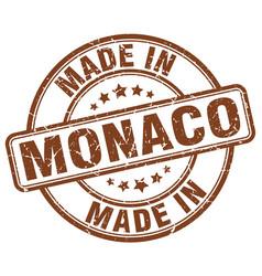 Made in monaco brown grunge round stamp vector