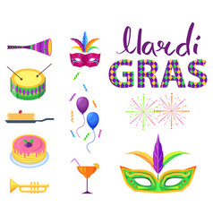 Mardi gras poster with colorful carnival symbols vector