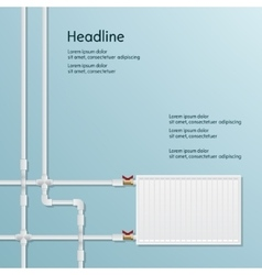 Metal plastic pipe and battery background vector