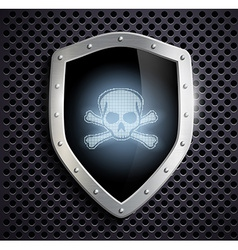 metal shield with a skull and crossbones vector image
