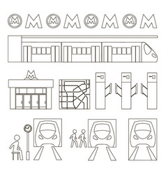 Metro underground symbols vector