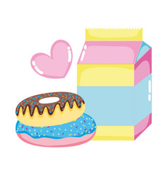 Milk box with sweet donuts and heart vector