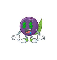 Money eye acai berries character for fresh fruit vector
