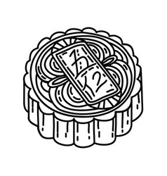 Mooncake icon doodle hand drawn or outline icon vector