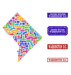 Mosaic map district columbia and distress vector